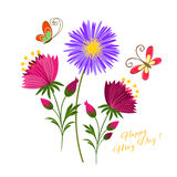 May Day Colorful Flower and Butterfly. Background Royalty Free Stock Photography