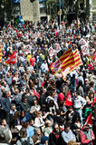 May Day Demonstration 2012, Barcelona, Spain. Thousands of people celebrate International Workers' Day with a May Day demonstration against the recent cuts and Royalty Free Stock Photography