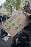 May Day Demonstratrion, Paris, France. May Day, 1 May, Demonstration, Feminists Sign Royalty Free Stock Photo