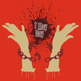 May Day. A illustration of break chain symbolize free from slavery Stock Image