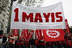 May Day in Istanbul. ISTANBUL-MAY 1: Thousands of laborers protest at a May Day rally on May 1, 2011 in Istanbul's Taksim Square,Turkey Stock Photos