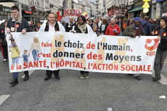 May Day Manifestation Paris, CGT Unionists Stock Photo