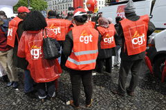 May Day Manifestation Paris, CGT Unionists Stock Image