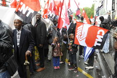 May Day Manifestation Paris, CNT Unionists Royalty Free Stock Image