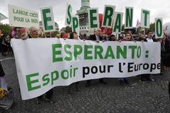 May Day Manifestation, Paris, Esperanto Fans. A group of Esperanto fans at the May Day manifestation near the Place de la Bastille, Paris, promoting this Royalty Free Stock Photography