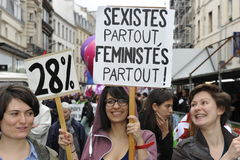 May Day Manifestation, Paris, Feminist Group Stock Images