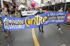 May Day Manifestation, Paris, Lesbian Group Stock Photo