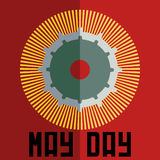 May day minimal vector concept with gears and sunburst. In vivid colours Royalty Free Stock Photo