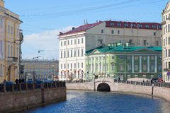 May day on the Moika river. The historical centre of St. Petersburg Stock Images