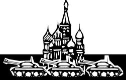 May Day Parade. Woodcut style image of Russian tanks rolling in front of the Kremlin in Red Square Stock Photos