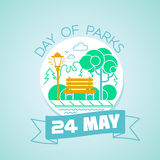 24 may Day of parks. Calendar for each day on may 24. Greeting card. Holiday - Day of parks. Icon in the linear style Royalty Free Stock Images