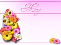 May Day - Pink. Background or calendar page for May with pink gradient and floral bouquet Stock Image
