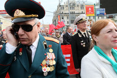 May Day rally in Moscow Stock Photos