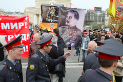 May Day rally in Moscow royalty free stock images