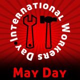 May Day Red Black Burst. International Workers Day May Day in Red Black Burst Stock Photography