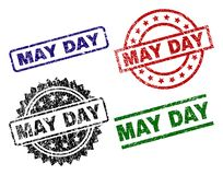Damaged Textured MAY DAY Stamp Seals. MAY DAY seal prints with corroded surface. Black, green,red,blue vector rubber prints of MAY DAY tag with dust surface vector illustration
