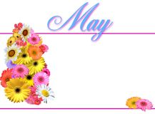 May Day - Simple. Calendar page or background for month of May with spring flowers.  Simple lines, no gradients Stock Photo