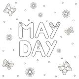 May Day text, butterflies and flowers. Coloring page. Vector illustration Royalty Free Stock Photos