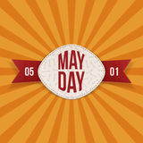 May Day Text on realistic Banner with red Ribbon. Vector Illustration Stock Photo