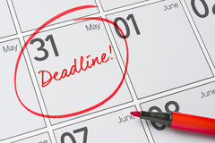 May 31. Deadline written on a calendar - May 31 Royalty Free Stock Image