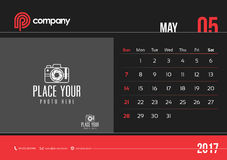 May Desk Calendar Design 2017 Start Sunday. May Calendar Design 2017 Start Sunday Royalty Free Stock Photography