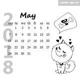 May dog. Month may 2018. Calendar for the next coming year. Hand drawn illustration. Element for daily, monthly, yearly planner, diary, poster, postcard royalty free illustration