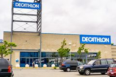 May 26, 2019 Emeryville / CA / USA - Exterior view of Decathlon Sporting Goods flagship store, the first open in the San Francisco. Bay area, near Oakland stock photo