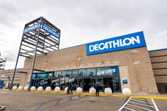 May 26, 2019 Emeryville / CA / USA - Exterior view of Decathlon Sporting Goods flagship store, the first open in the San Francisco. Bay area, near Oakland royalty free stock images