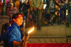 19 May 2019 Eskisehir Turkey. Young boy holding fire torch that symbolises the independence of Turkish nation on 19 May National. Independence Parade royalty free stock photos