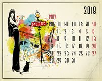 May. 2018 European calendar with fashion girl. In sketch style Royalty Free Stock Photo