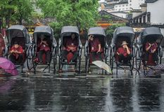 Rickshaw waiting for tourists in the rain