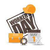 May first workers day icon EPS 10 vector. Royalty free stock illustration for greeting card, ad, promotion, poster, flier, blog, article, social media Stock Images