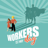 May first workers day superhero design Royalty Free Stock Images