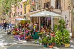 14 MAY 2016. Flower shop in Palma de Mallorca, Spain stock photos