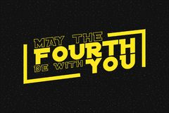 May the fourth be with you lettering on starry background. Design for star wars day. Vector.