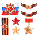 9 May The Great Patriotic War medal isolated set Royalty Free Stock Photography