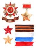 9 May The Great Patriotic War medal set.  vector illustration