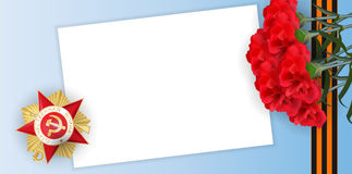 9 may greeting card victory day medal carnation. Victory Day greeting card for veterans. Vector memory blue sky banner empty blank paper. Gold medal red star stock illustration