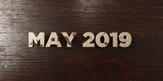 May 2019 - grungy wooden headline on Maple  - 3D rendered royalty free stock image Stock Photos