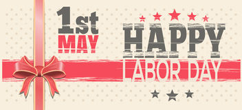 1 May. Happy Labor Day. Retro greeting card. Happy Labor Day. 1st May. Retro background for 1 May. Vector vintage template flyer for International Workers Day Royalty Free Stock Image