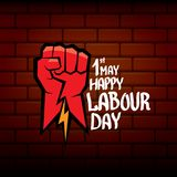 1 may - happy labour day. vector happy labour day poster or banner with clenched fist. workers day poster. labour day. Label or badge Stock Photography