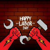 1 may - happy labour day. vector happy labour day poster or banner with clenched fist. workers day poster. labour day. Label or badge stock illustration