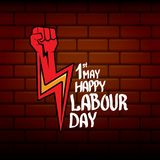 1 may - happy labour day. vector happy labour day poster or banner with clenched fist. workers day poster. labour day. Label or badge Stock Image