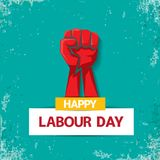 1 may Happy labour day vector label with strong red fist on torquise background . labor day background or banner with Stock Photos