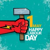 1 may Happy labour day vector label with strong red fist on torquise background . labor day background or banner with Royalty Free Stock Image