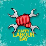 1 may Happy labour day vector label with strong red fist on torquise background . labor day background or banner with. Man hand. workers may day poster design vector illustration