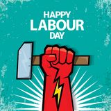 1 may Happy labour day vector label with strong red fist on torquise background . labor day background or banner with. Man hand. workers may day poster design Royalty Free Stock Image