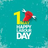 1 may Happy labour day vector label with strong red fist on torquise background . labor day background or banner with. Man hand. workers may day poster design royalty free illustration