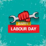 1 may Happy labour day vector label with strong red fist on torquise background . labor day background or banner with. Man hand. workers may day poster design stock illustration