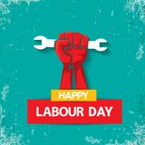 1 may Happy labour day vector label with strong red fist on torquise background . labor day background or banner with Royalty Free Stock Photo